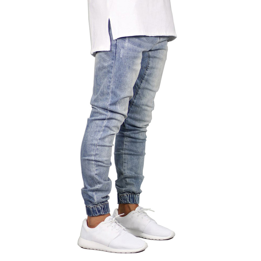 Fashion Mens Jogger Jeans Casual Men's Black Blue Stretch Hip Hop Beam Foot Denim Jeans Male Slim Solid Color Washed Jeans