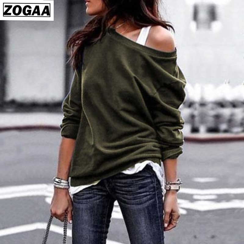 Hoodies Solid Women Autumn and Spring 2019 Fashion Round Collar Long Sleeves Shoulderless Sweatshirts For girls Loose clothes A1 in Hoodies amp Sweatshirts from Women 39 s Clothing