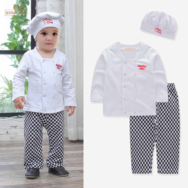 NYAN CAT Baby boys sets cotton white shirt+plaid pants+hat chef play suit  long sleeves toddler kids clothes outfit costume