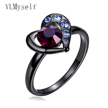 Lovely heart ring black plat with Red Blue crystal stones fashion jewelry Romantic gift jewellery trendy cute rings