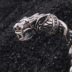 Image 5 - Yage DropShipping 925 Sterling Silver rune Dragon/Wolf viking bangle adjustable