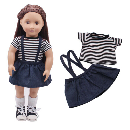 Stap shirt + Jean skirt suit set for 43cm Zapf Baby Born dolls for 18 inch 45CM American girl doll outsuit rose christmas gift 18 inch american girl doll swim clothes dress also fit for 43cm baby born zapf dolls