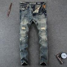 Модные Дизайнерские мужские джинсы с дырками на коленях, потертые рваные джинсы для мужчин, брюки с пуговицами, брендовые облегающие байкерские джинсы для мужчин