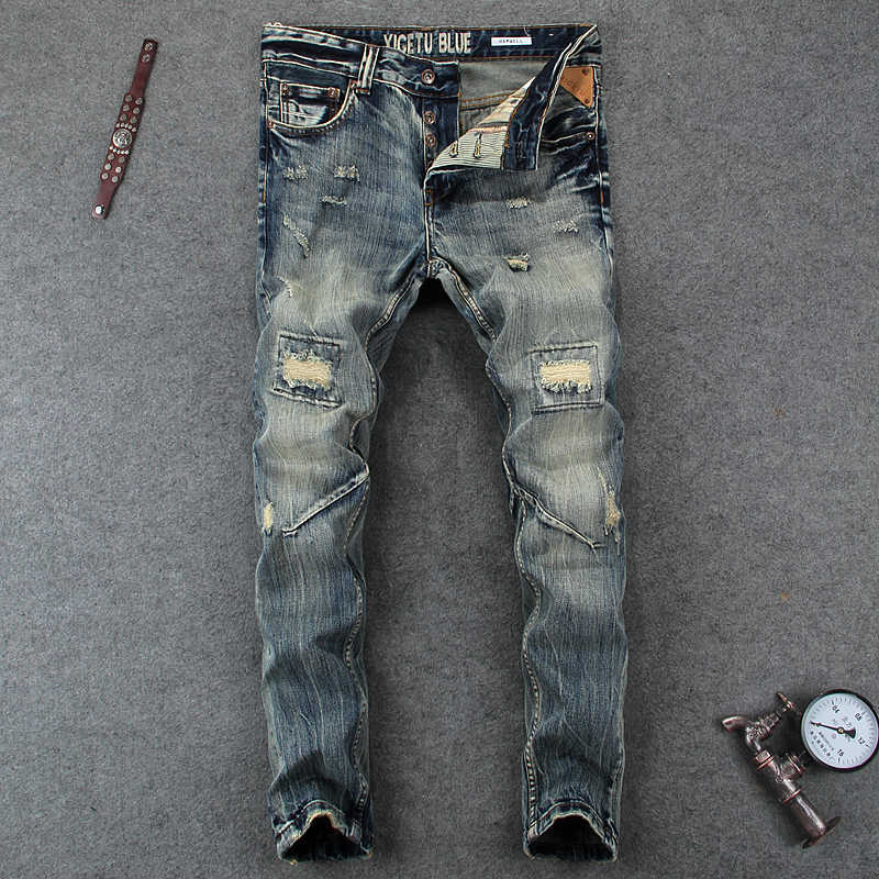 94c01886 Fashion Designer Mens Jeans Knee Hole Frayed Ripped Jeans For Men Beggar  Pants Brand Buttons Pants