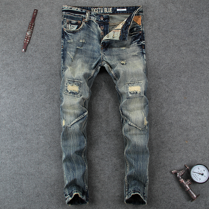 Fashion Designer Mens Jeans Knee Hole Frayed Ripped Jeans For Men Beggar Pants Brand Buttons Pants Slim Fit Biker Jeans Men