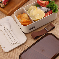 New Lunch Box Health Natural Eco Friendly Chaff Rice Husk fiber With Fork Knife Spoon Cloth Bag For Kids Microwave Bento