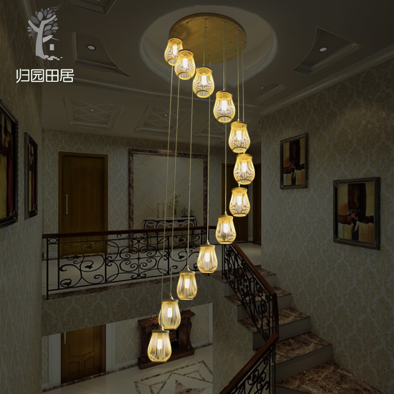 Stairs wood lights living room large pendant light revolving stair lamp long double staircase light loft bamboo lamps ZA zb58 chinese style simple led long block crystal villa staircase pendant lamp revolving double staircase living room lighting pendant