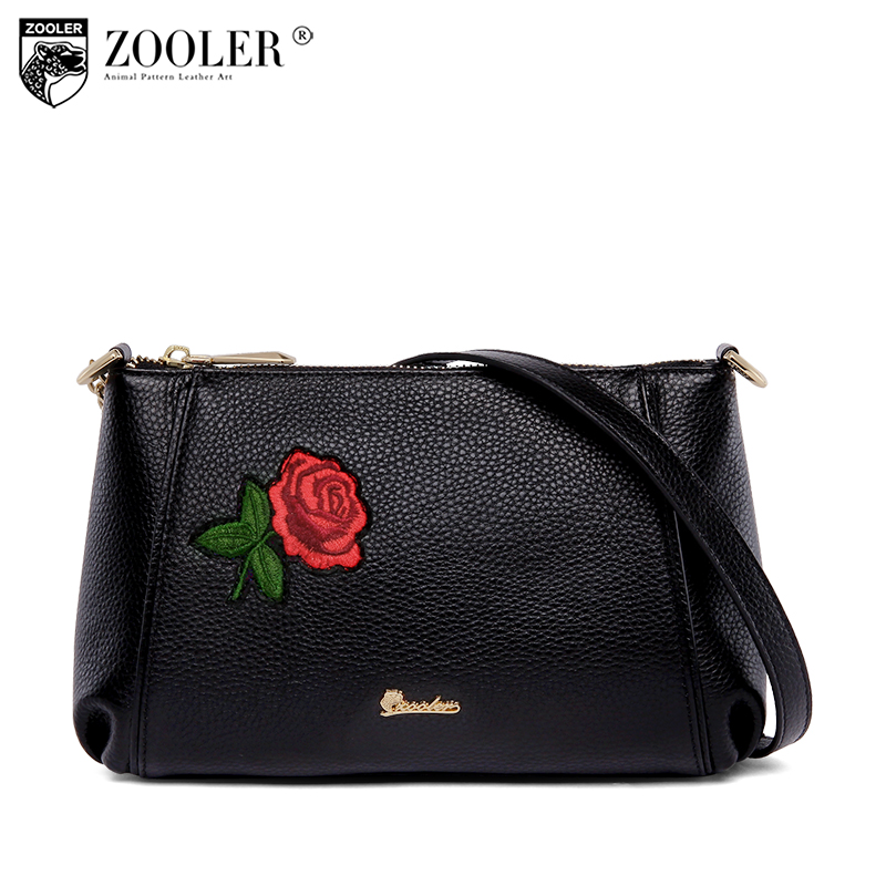 HOT ZOOLER genuine leather shoulder bag handbags women famous brand designed flower woman bags for lady bolsa feminina #T505 sales zooler brand genuine leather bag shoulder bags handbag luxury top women bag trapeze 2018 new bolsa feminina b115