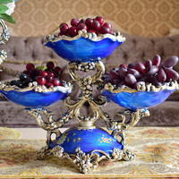 Europe vintage fresh fruit dish plate decorative dinner table home kitchen wedding party decoration blue color with diamind