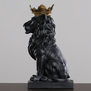 Image 4 - 2020 New Creative Modern Golden Crown Black lion Statue Animal Figurine Sculpture For Home Decorations Attic Ornaments Gifts 2