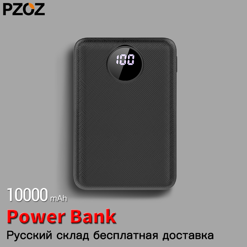 PZOZ Power Bank 10000mAh Dual USB Mobile Phone External Battery Fast Charge For Iphone X Xiaomi Portable Charger Mini PowerBank