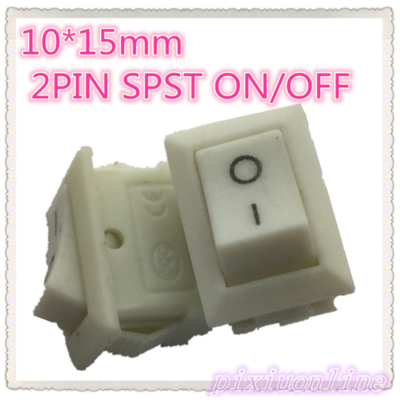 High Quality G134Y 10pcs 10*15mm White 2PIN SPST ON/OFF Boat Rocker Switch 3A/250V  Hot Sale 2017 Sell Loss g126y 2pcs red led light 25 31mm spst 4pin on off boat rocker switch 16a 250v 20a 125v car dashboard home high quality cheaper