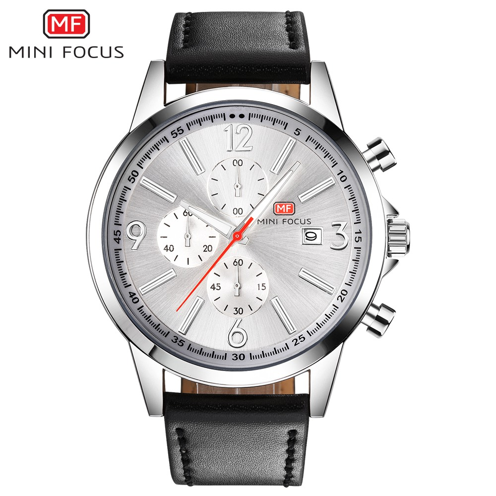 MINIFOCUS 2018 Top Fashion Brand Leather Sport Men Watches Quartz Watch Luxury Famous Male Clock Montre Homme Relogio Masculino mce top brand mens watches automatic men watch luxury stainless steel wristwatches male clock montre with box 335