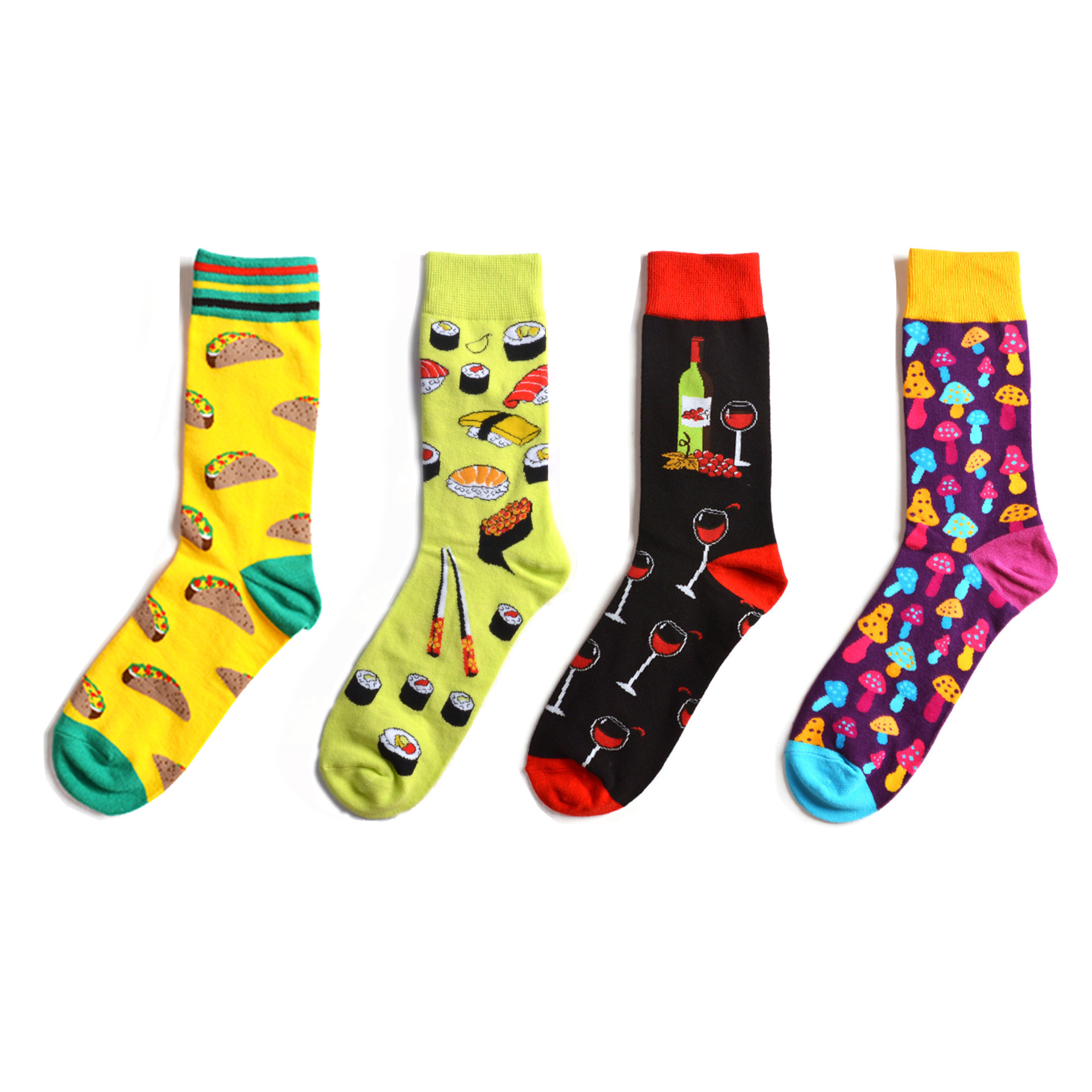 Colorful Sushi Mushroom Pattern Novelty Crew Socks Men's Funny Food Kawaii Sokken Creative Casual Cotton Party Socks For Male