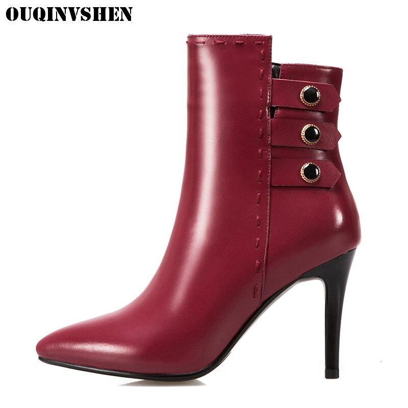 OUQINVSHEN Pointed Toe Thin Heels font b Women b font font b Boots b font Casual