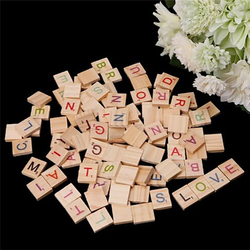 100X Wooden Scrabble Tiles Colorful Letters Numbers For Crafts Wood Alphabet Toy  Juguetes Montes Wooden Toys For Baby Kids  A1