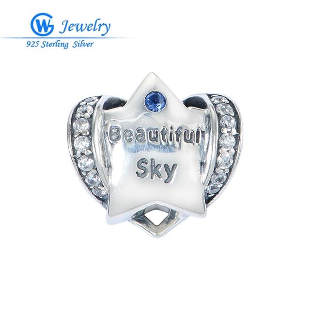 Wholesale Lots Crystal Star Charms Beautiful Sky 925 Sterling Silver Jewelry Fit Brand Bracelet Gw Fine Jewelry X407H50