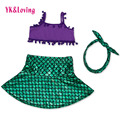 Newborn Baby Mermaid Outfit Summer Clothes Princess Ariel Girls Purple Sling Top Swimsuit Dress Bikini Set Headband Photo Prop