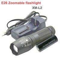 26650 led flashlight XM L2 Lumens E26 Zoomable flash light led light Zoom +1x 26650 6800mah battery+charger