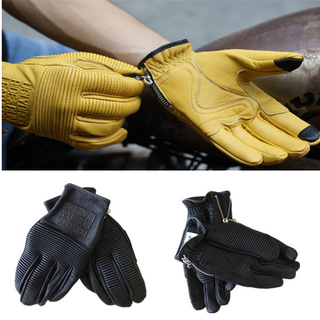 Motorcycle Leather Gloves Automobiles & Motorcycles color: Beige|Black|Yellow