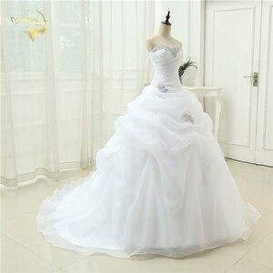 Image 4 - Gorąca sprzedaż New Arrival Vestido De Noiva linia suknia ślubna frezowanie biały suknia ślubna w kolorze kremowym 2020 szata De Mariage Casamento OW3199