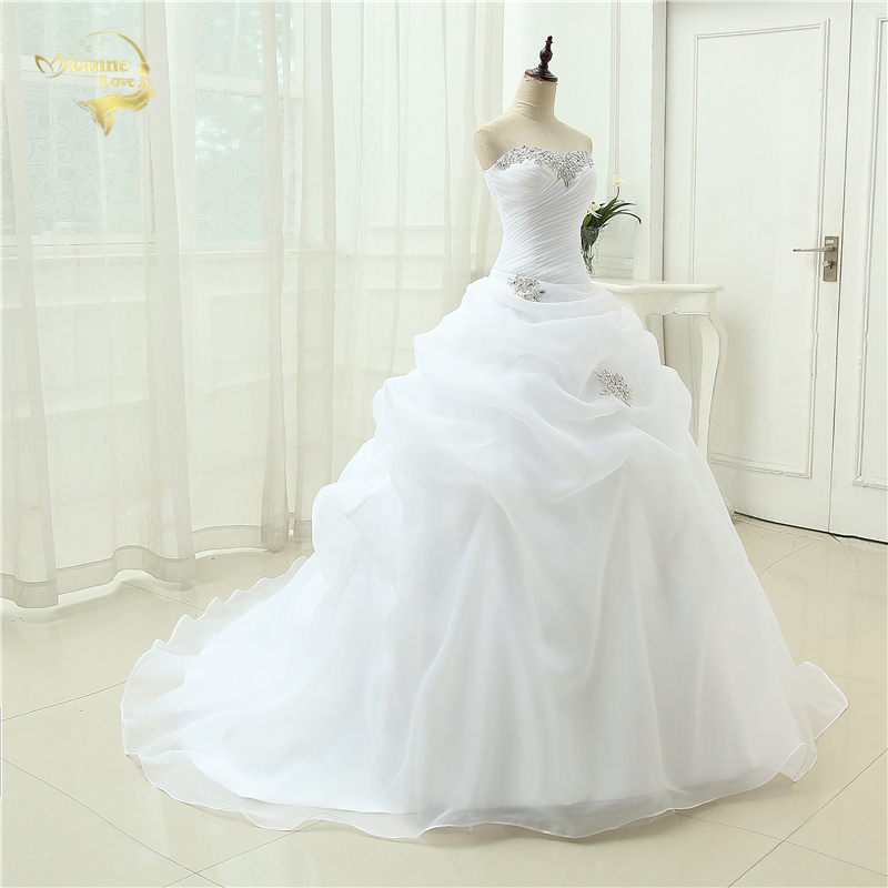 Hot Sale New Arrival Vestido De Noiva A Line Bridal Gown Beading White Ivory Wedding Dress 2018 Robe De Mariage Casamento OW3199
