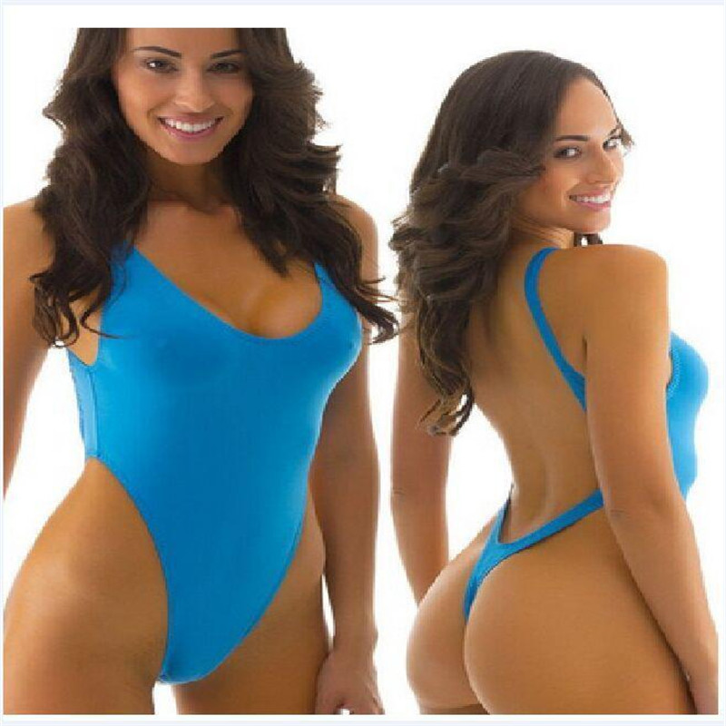 Sexy Thongs Swimsuit Women One Piece Bodysuit High Cut Out Monokini Backless Swimwear Thong Bathing Suit Deep V Trikini Triquini women solid one piece swimsuit halter backless bandage bodysuit monokini deep v neck sexy high waist vintage beach wear