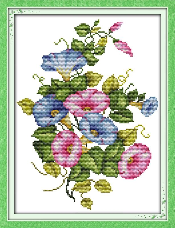 Morning Glory Flower Counted Cross stitch 11CT 14CT DIY Needlework DMC Stitch Kits Embroidery Home Decor Crafts - Amarantine cross-stitch factory Co., LTD. store