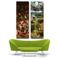 2 قطع عدن بواسطة hieronymus بوش hd تفاصيل قماش طباعة اللوحة الفنية الجدار صور لغرفة المعيشة ديكور المنزل طباعة
