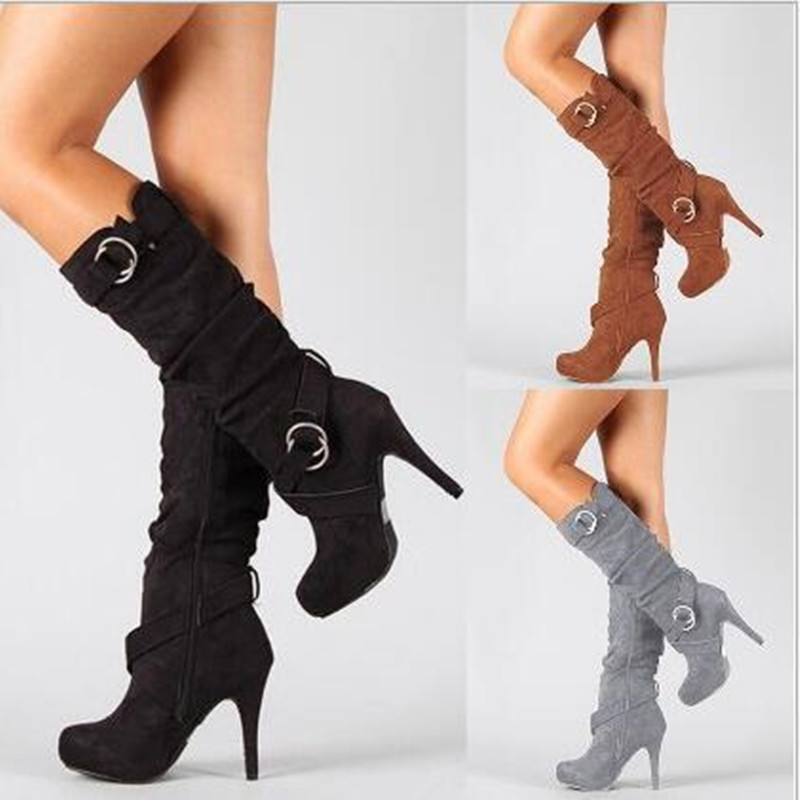 Autumn Winter Women Boots Stretch Slim Thigh High Boot 2018 New Fashion Mid-Calf Boot Thin High Heels Shoes Woman Botas