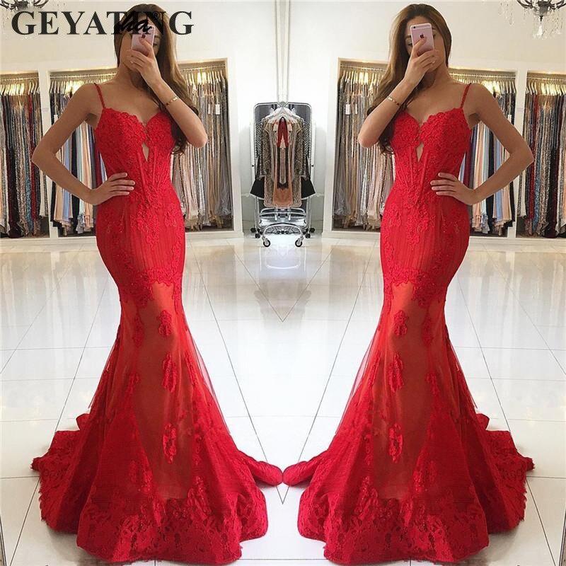 Dentelle rouge longue Robe de soirée sirène 2019 Robe de soirée bretelles Spaghetti chérie Appliques Dubai robes de bal robes formelles