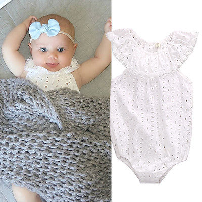 9ab0aa67752 Cute Newborns White Lace Baby Rompers Summer Infant Baby Girls Clothes  Toddler Kids Jumpsuit Sunsuit Outfits Coveralls-in Rompers from Mother    Kids on ...