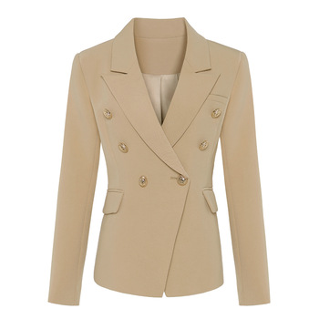 TOP QUALITY New Stylish 2021 Classic Designer Blazer Women's Double Breasted Metal Lion Buttons Blazer Jacket Outer Wear Khaki