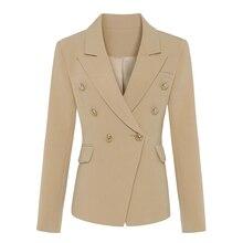 Chaqueta de diseñador clásico para mujer, chaqueta con botones de Metal de leones, color caqui, 2020