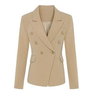 Image 1 - En kaliteli yeni şık 2020 klasik tasarımcı Blazer kadın kruvaze Metal aslan düğme Blazer ceket dış giyim haki