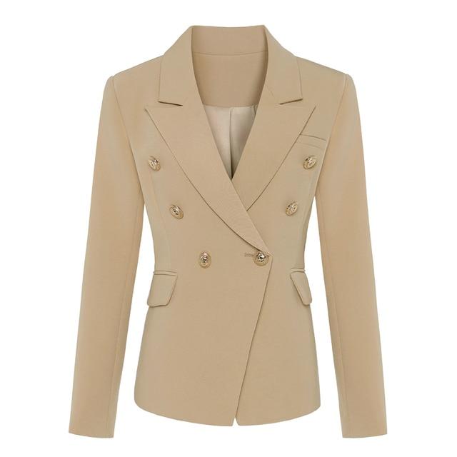 En kaliteli yeni şık 2020 klasik tasarımcı Blazer kadın kruvaze Metal aslan düğme Blazer ceket dış giyim haki