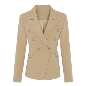 Image 1 - Qualidade superior novo à moda 2020 clássico designer blazer feminino duplo breasted metal leão botões blazer jaqueta exterior usar caqui