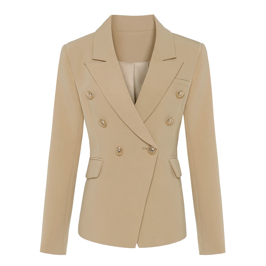 TOP QUALITY New Stylish 2019 Classic Designer Blazer Women's Double Breasted Metal Lion Buttons Blazer Jacket Outer Wear Khaki