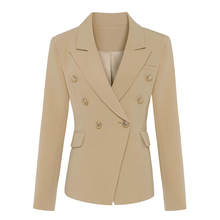 TOP QUALITY New Stylish 2020 Classic Designer Blazer Womens Double Breasted Metal Lion Buttons Blazer Jacket Outer Wear Khaki