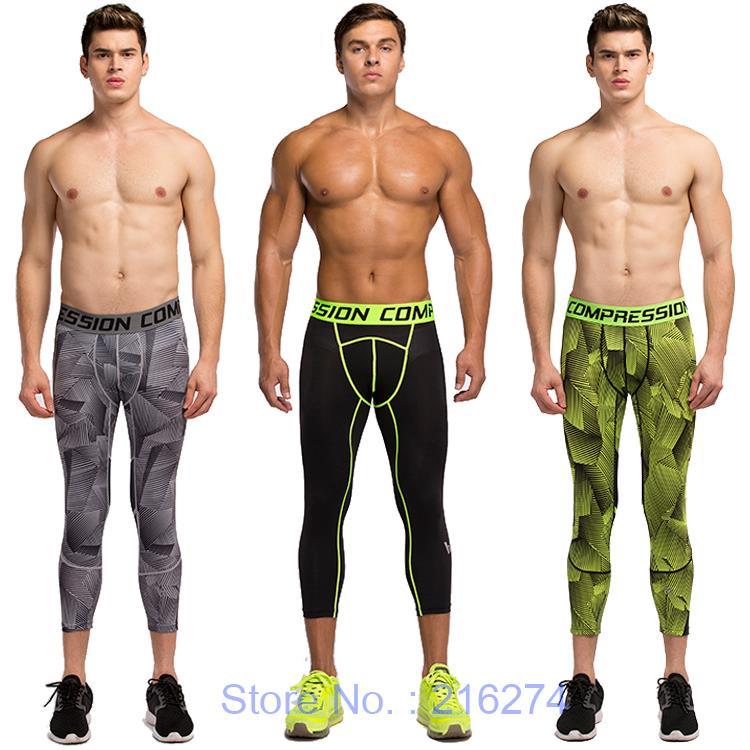 Mens compression 3/4 pants sports jogger jogging running ...