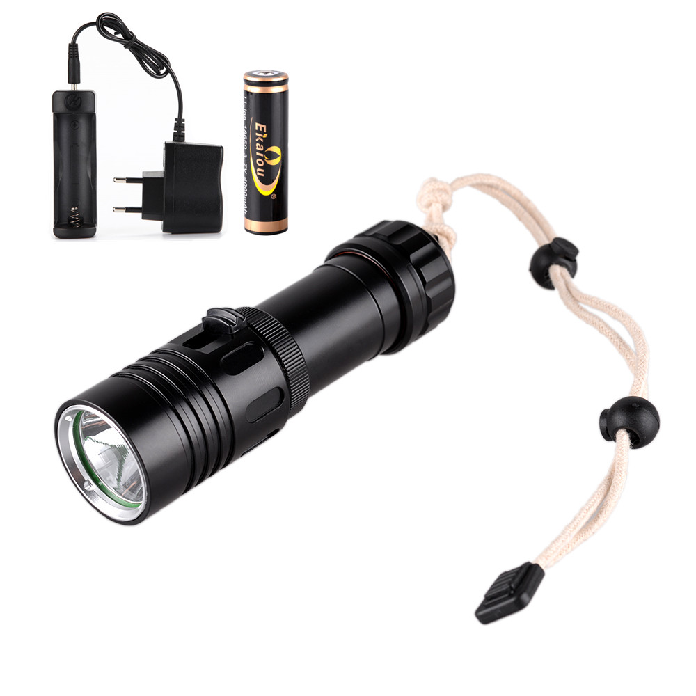 1800 lm CREE XM-L U2 LED Diving Flashlight portable Dive Lights +18650 battery +charger