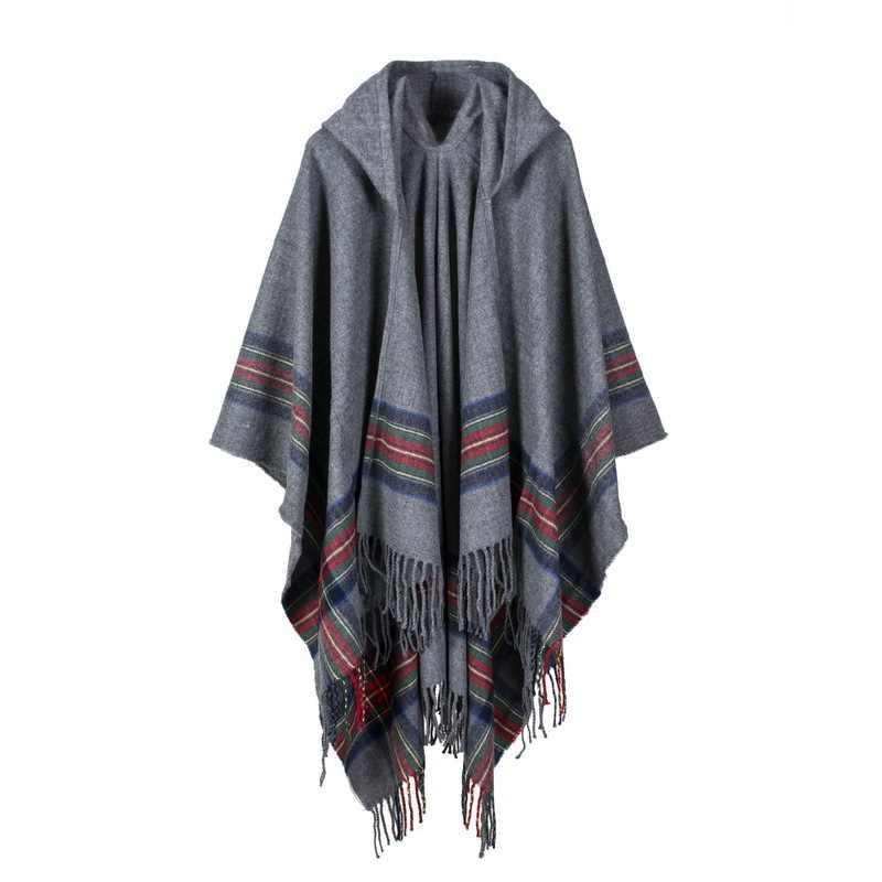Осень-зима 2018, негабаритный толстый теплый кашемировый жаккардовый пончо из искусственного пашмины, модный плащ с капюшоном, вязаный шарф, шаль MY181