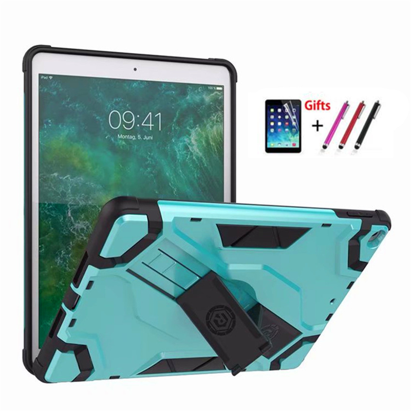For iPad 9.7 Back hard Armor Cover for NEW iPad 9.7 2017 2018 a1893 A1822 Tablet Case PU+PC Heavy Duty Case Hybrid Rugged Rubber
