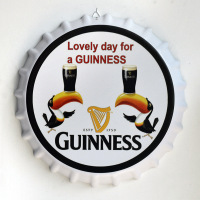 35cm Vintage Home Decor Lovely Day for A Guinness Round Bottle Cap Tin Signs Art Wall Decor House Cafe Bar Vintage Metal Signs