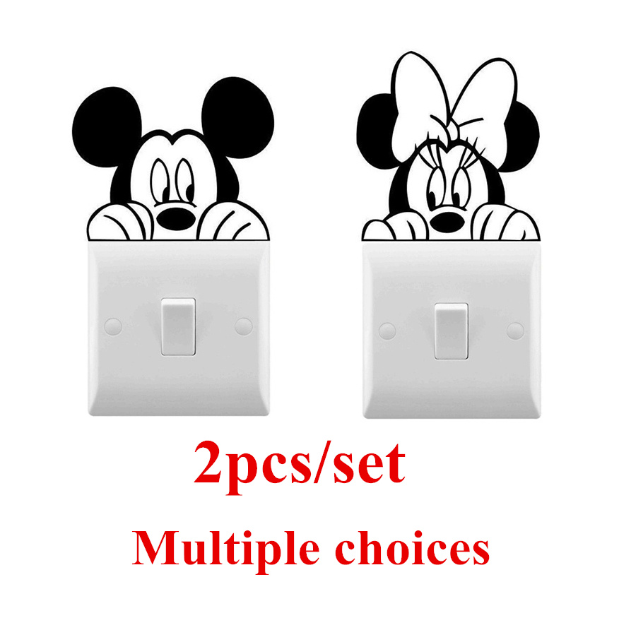 2pcs/set Mickey Minnie Wall Vinyl Sticker Cute Light Switch Sticker For Kids Room Decorative Mickey Fairy Switch Stickers AZ083(China)