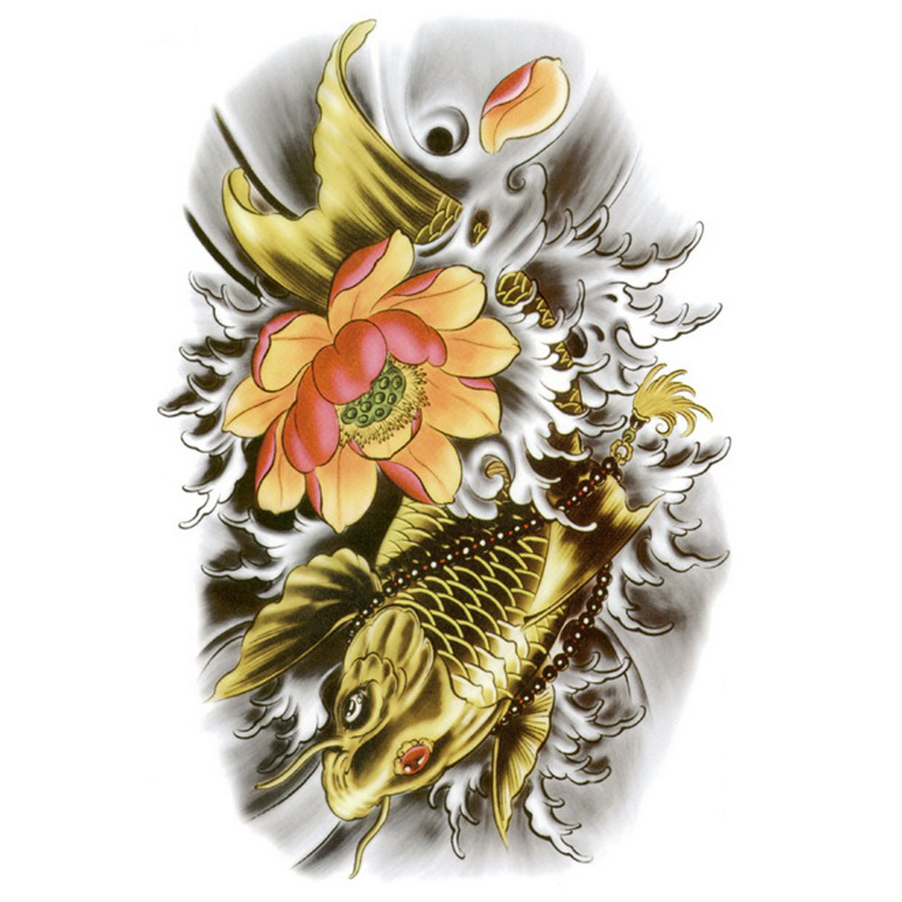 Yeeech Temporary Tattoos Sticker for Men Traditional Lotus Bead Carp Fish Gold Designs Fake Large Arm Leg Body Art Waterproof