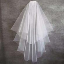 Новые короткие Свадебные вуали с гребешком милые свадебные аксессуары принцессы Белый/слоновой кости/красный 2 слоя мягкий тюль вырезать Свадебные вуали с каймой