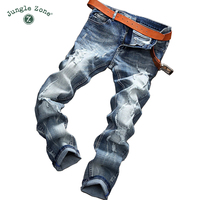 JUNGLE ZONE Ripped Jeans Men Brand Clothing High Quality Male Jeans Fashion Casual Mens Denim Pants