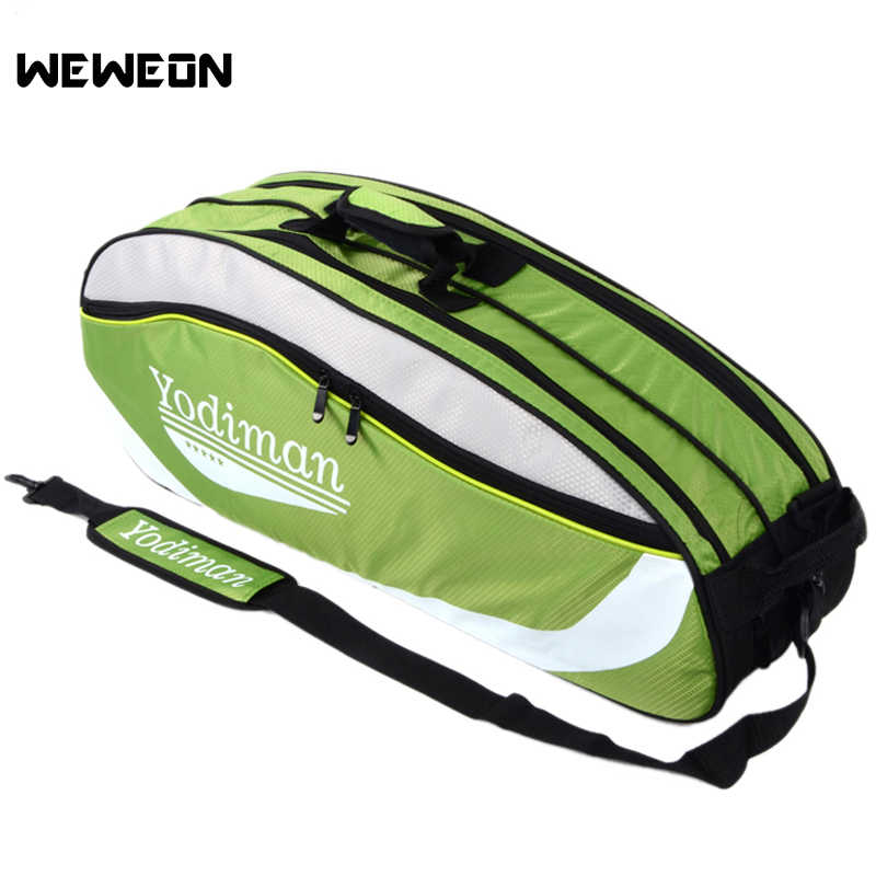 5-8Pcs Waterproof Badminton Bag Polyester Tennis Shoulder Bag Large Badminton Racket Bags Tennis Backpack with Shoes Pocket