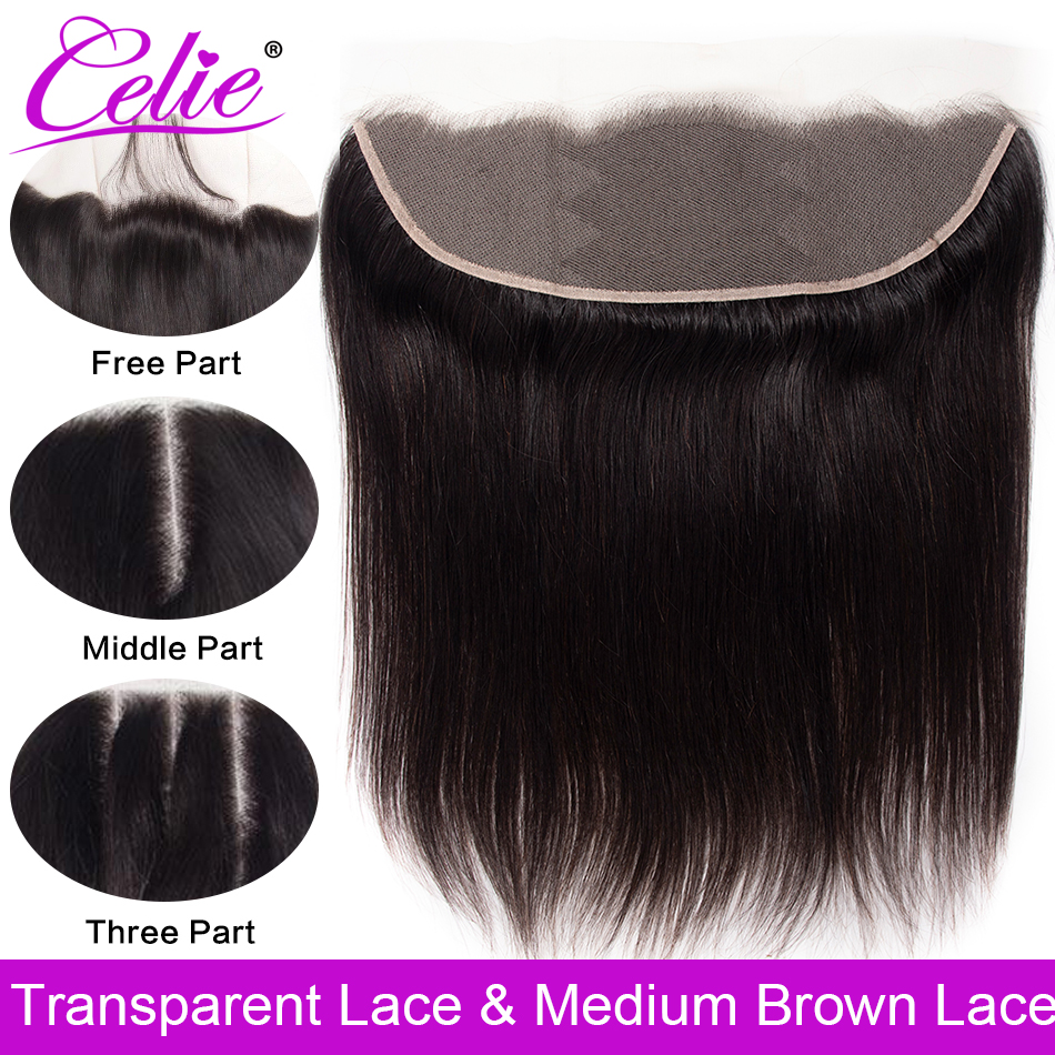 Celie Brazilian Straight Hair HD Transparent Lace Frontal Closure 8-22 inch Swiss Lace Frontal Human Hair Closure Ear To Ear(China)